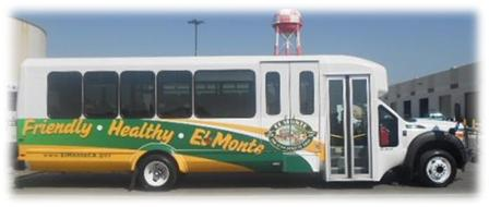"Bus that reads ""Friendly, Healthy, El Monte"""